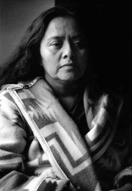 Esther Yazzie before speaking about uranium mining on Navajo lands, at the Indigenous Uranium Conference at the United Nations, 1989
